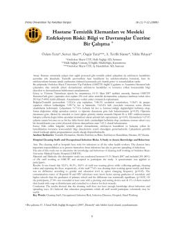 Hastane Temizlik Elemanları ve Mesleki Enfeksiyon Riski