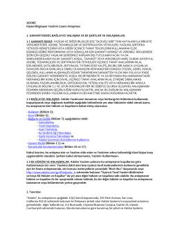 ADOBE Kişisel Bilgisayar Yazılımı Lisans Anlaşması 1. GARANTİ