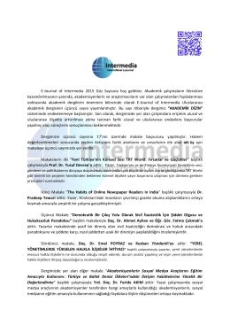 E-Journal of Intermedia 2015 Güz Sayısına hoş geldiniz. Akademik