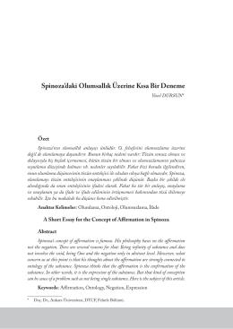 Spinoza`daki Olumsallık Üzerine Kısa Bir Deneme