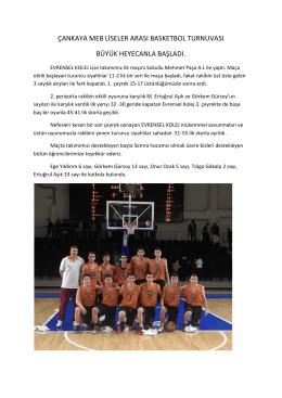 çankaya meb liseler arası basketbol turnuvası büyük heyecanla