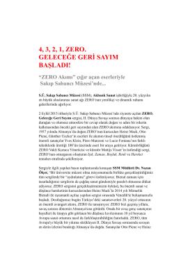 zero basın bultenı - Sakıp Sabancı Müzesi