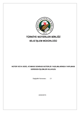 türkiye noterler birliği bilgi işlem müdürlüğü