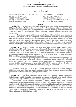 01.07.2015 meclis karar - Bozcaada Belediye Başkanlığı
