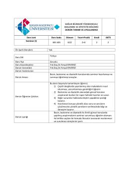 17062015-BES405-SEMİNER I - Beslenme ve Diyetetik Bölümü