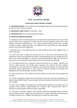 Toplantı Notları - Türk Armatörler Birliği