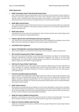 Doç. Dr. Cüneyt BAYILMIŞ Bitirme Proje Konuları 2015