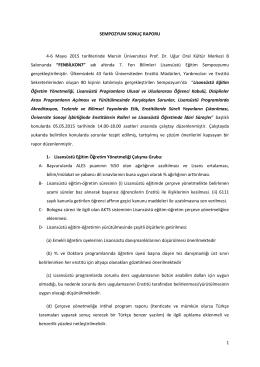 1 SEMPOZYUM SONUÇ RAPORU 4-6 Mayıs 2015 tarihlerinde