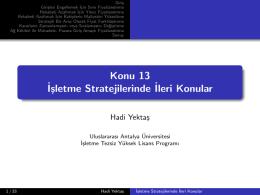 Konu 13 İşletme Stratejilerinde İleri Konular