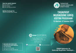 TASAVVUF MUSİKİSİNE GİRİŞ - Tasavvuf Araştırmaları Enstitüsü