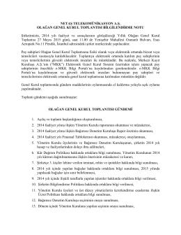 NETAŞ TELEKOMÜNİKASYON A.Ş. OLAĞAN GENEL KURUL