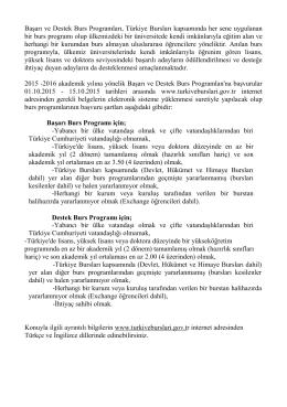 2015-2016 Türkiye Burslusu Şartları