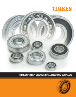 Timken Deep Groove Ball Bearing Catalog