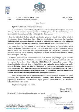 Sayı : 75577333-TİM.EİB.GSK.00.8/3394 İzmir, 17/04/2015 Konu