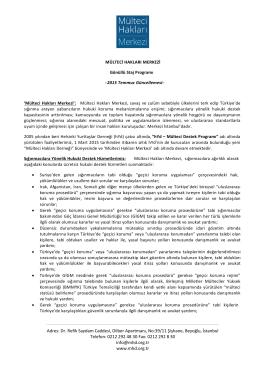 Mülteci Hakları Merkezi gönüllü programı Temmuz 2015 güncelleme
