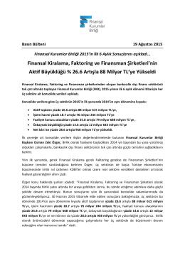 Finansal Kurumlar Birliği 2015`in İlk 6 Aylık Sonuçlarını açıkladı…
