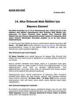 14. Altın Örümcek Web Ödülleri için Başvuru Zamanı!