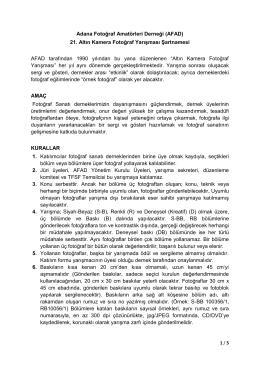 Adana Fotoğraf Amatörleri Derneği (AFAD) 21. Altın Kamera