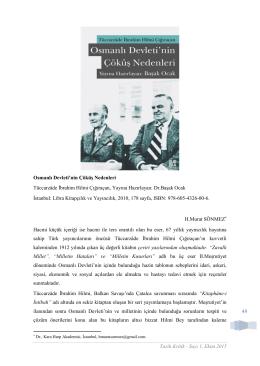 Tarih Kritik - Sayı 1, Ekim 2015 49 Osmanlı Devleti`nin