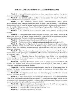 sakarya üniversitesi 2015-16 yaz öğretimi esasları