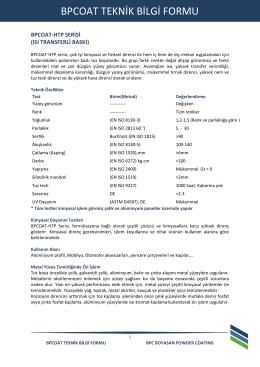 bpcoat teknik bilgi formu - BPC - Elektrostatik Toz Boya