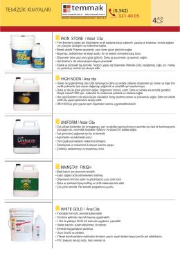 Kimyasal Katalogu - TEMMAK Makine