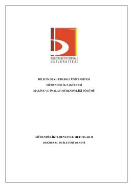 Doğrusal Isı İletimi Deneyi - Bilecik Şeyh Edebali Üniversitesi