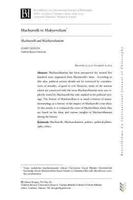 Machiavelli ve Makyevelizm - Beytulhikme Felsefe Dergisi
