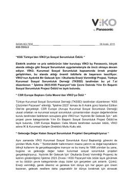 """""""KSS Türkiye`den VİKO`ya Sosyal Sorumluluk Ödülü """" Elektrik"""