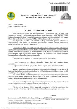 İkamet İzni İşlemleri Hakkında (07/01/2016)