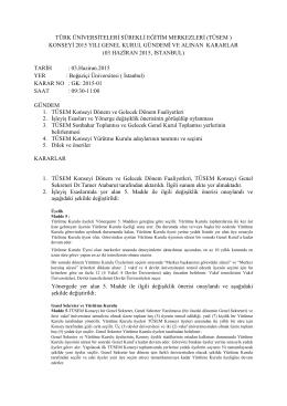 TÜSEM Konseyi Genel Kurul toplantısı 3 haziran 2015