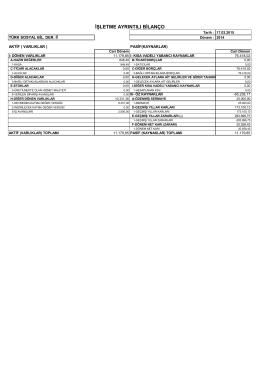 TSBD İktisadi İşletme 2014 Bilanço