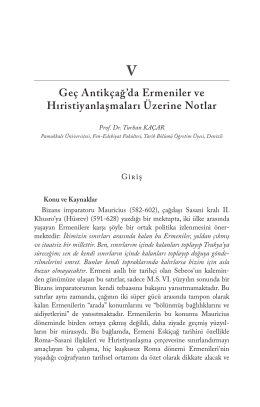 Geç Antikçağ`da Ermeniler ve Hıristiyanlaşmaları Üzerine Notlar