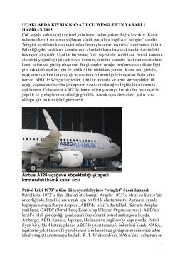 Uçaklarda Kıvrık Kanat Ucu Wınglet`in Yararı