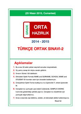 türkçe ortak sınavı-2 hazırlık