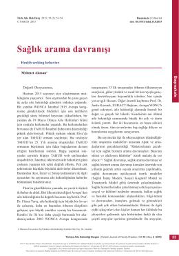 PDF - Sağlık arama davranışı - Türkiye Aile Hekimliği Dergisi