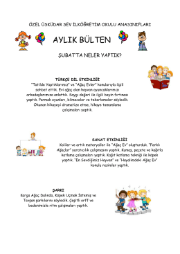 aylık bülten - Özel Üsküdar SEV İlköğretim Okulu