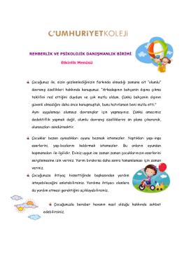 Rehberlik Birimi - Anaokulu - Etkinlik Menüsü (5