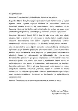 Sevgili Öğrenciler, Hacettepe Üniversitesi Fen Fakültesi Biyoloji