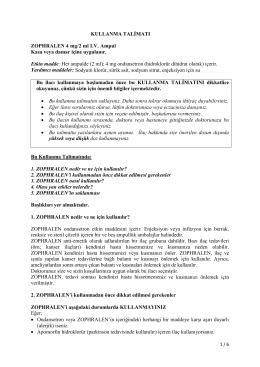 KULLANMA TALİMATI ZOPHRALEN 4 mg/2 ml I.V. Ampul
