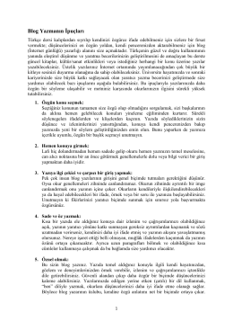 Blog Yazmanın İpuçları - Bilkent WEB2 Services