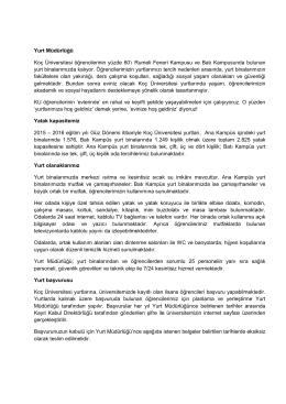 Yurt Müdürlüğü Koç Üniversitesi öğrencilerinin yüzde 60`ı Rumeli