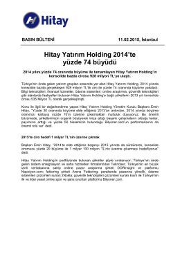 Hitay Yatırım Holding 2014`te yüzde 74 büyüdü