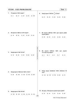 YÜZDE - FAİZ PROBLEMLERİ Test -1