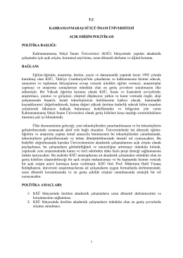 KSÜ Açık Erişim Politikası - Sütçü İmam Üniversitesi Kütüphanesi
