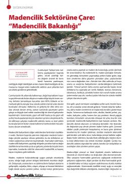 """Makale: Madencilik Sektörüne Çare:""""Madencilik Bakanlığı"""""""