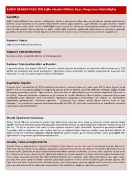 SAĞLIK BİLİMLER FAKÜLTESİ Sağlık Yönetimi Bölümü Lisans