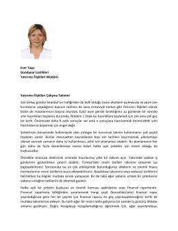 Yatırımcı ilişkilieri Çalışma Takvimi - TÜYİD