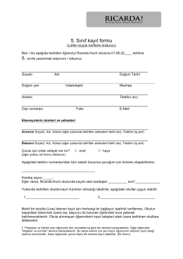 5. Sınıf kayıt formu - Ricarda-Huch