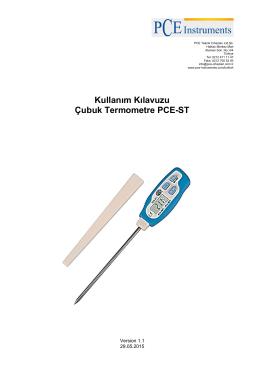 Kullanım Kılavuzu Çubuk Termometre PCE-ST
